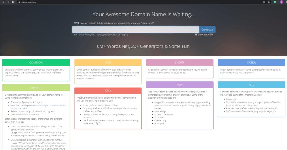 NAMEMESH best domain name generator
